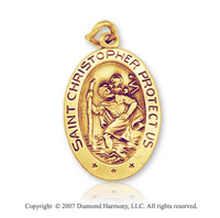 14k Yellow Gold Classic Oval Small St. Christopher Medal