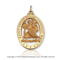 14k Yellow Gold Carved Small St. Christopher Medal