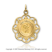 14k Yellow Gold Elegant Small St. Christopher Medal