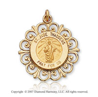 14k Yellow Gold Humble Servant Small St. Jude Medal