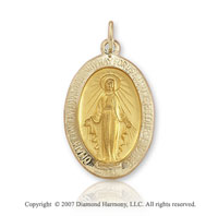 14k Yellow Gold Blessed Mary Small Miraculous Medal