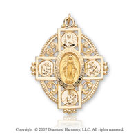 14k Yellow Goldold Holy Mother Cross Medium Miraculous Medal