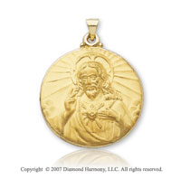 14k Yellow Gold Divine Love Medium Sacred Heart Medal