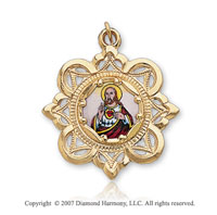 10k Yellow Gold Cameo Small Sacred Heart of Jesus Medal