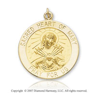 14k Yellow Goldold 'Pray For Us' Sacred Heart of Mary Medal