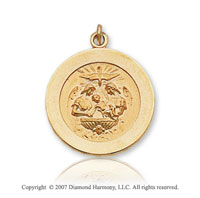 14k Yellow Goldold Holy Spirit Carved Small Baptism Medal
