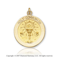 14k Yellow Gold Eucharist Carved Medium Communion Medal