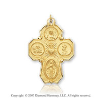 14k Yellow Goldold Divine Devotion Carved Four Way Cross Medal