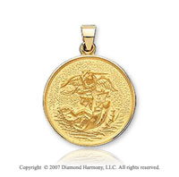 18k Y Gold Vi Caratorious Carved Large St. Michael Medal