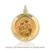14k Yellow Gold 'Pray for Us' Carved Saint Anne Medal