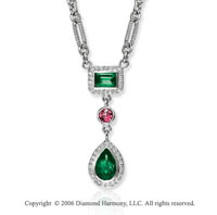 14k White Gold Green and Pink Topaz Diamond Necklace