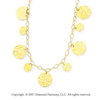 Oval Chain Hammered Circles 14k Yellow Gold Necklace