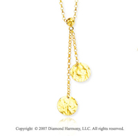 Dual Hammered Circles 14k Yellow Gold Lariat Necklace