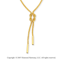 Woven Shoelace Knot 14k Yellow Gold Lariat Necklace