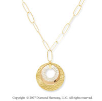 14k Tri Tone Gold 30 Inch Three Ring Medallion Necklace