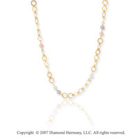 14k Yellow Gold Stylish 36in Multi Ring Pearl Necklace