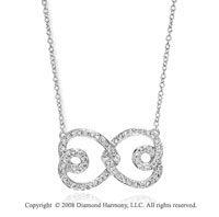 14k White Gold 2/5 CaratDiamond Heart Infinity Necklace