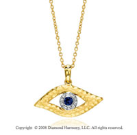 14k Hammered Yellow Gold Sapphire Diamond Eye Pendant