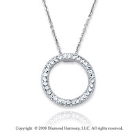 14k White Gold Circle Pendant Necklace
