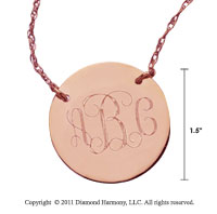 14k Rose Gold 1 1/4 Inch Diameter Monogram Disk Necklace