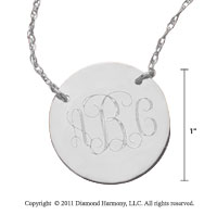 14k White Gold 1 Inch Diameter Monogram Disk Necklace