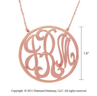 14k Rose Gold 1 1/2 Inch Rimmed Lace Monogram Necklace