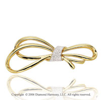 1/4 Carat Diamond Pave Gift Bow 14k Yellow Gold Pin
