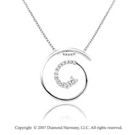 1/2 Carat Diamond 14k White Gold Fine Swirl Journey Pendant