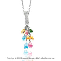 14k Diamond Pave Pear Rainbow Gemstones Drop Pendant Necklace