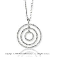 14k White Gold 1 1/3 Carat Diamond Tri Circle Of Life Pendant