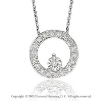 14k White Gold CenterStone 1/3 Carat Diamond Circle of Life Pendant