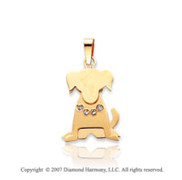 14k Yellow Gold Bezel Diamond Kids Dog Charm Pendant
