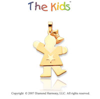 14k Yellow Gold Cute Girl Star Kiss 18mm Charm Pendant