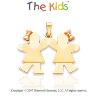 14k Yellow Gold Cute Sisters Ribbon Kiss Small Pendant
