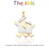 14k Two Tone Gold Cute Brothers Jump for Joy Pendant