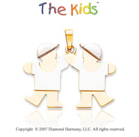 14k Two Tone Gold Fun Adorable Brothers Small Pendant
