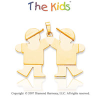 14k Yellow Gold Fun Adorable Brothers Large Pendant