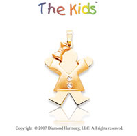 14k Two Tone Gold Little Girl Joy Bezel Diamond Pendant