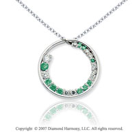 14k White Gold Circle 1 1/3 Carat Green Diamond Pendant