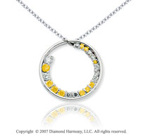 14k White Gold Circle 1 1/3 Carat Yellow Diamond Pendant