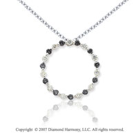 14k White Gold Circle 1.10 Carat Black Diamond Pendant