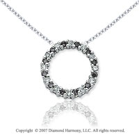 14k White Gold Circle 1/4 Carat Black Diamond Pendant