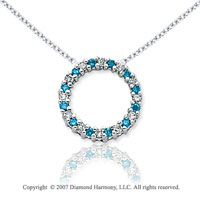 14k White Gold Circle 1/4 Carat Blue Diamond Pendant