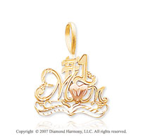 14k Two Tone Gold Elegant Heart �#1 Mommy� Pendant