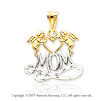 14k Two Tone Gold Classic Double Angel �Mom� Pendant