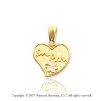 14k Two Tone Gold Stylish Flower �Mom� Heart Pendant