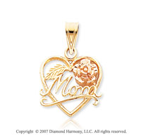 14k Two Tone Gold Floral Fine �Mom� Open Heart Pendant
