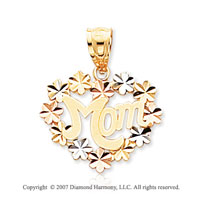14k Two Tone Gold Lovely Floral �Mom� Heart Pendant