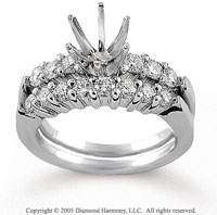 14k White Gold Classic Prong 0.90 Carat Diamond Bridal Set