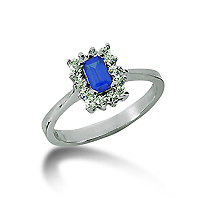 14k White Gold Emerald 5x3 Blue Sapphire and 1/3 Carat Diamond Lady Di - Princess Diana Style Ring